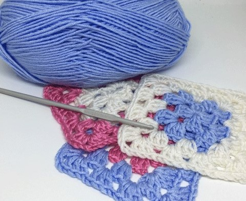 Blue, pink, white Granny squares