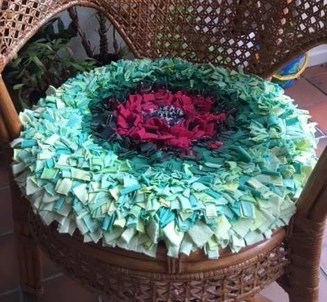 Blue and red rag rug cushion
