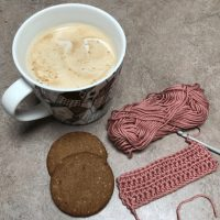 Crochet, coffee and biscuits