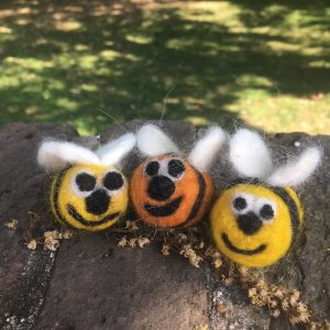 needle felted bees